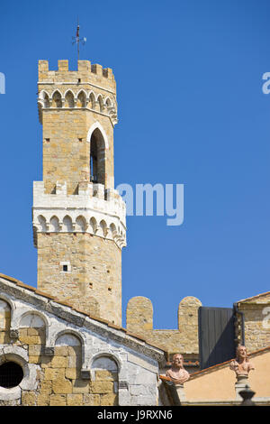 Italy,Tuscany,Volterra,cathedral,detail,background tower,Palazzo del Priori,Europe,town,culture,structures,historically,architecture,church,cathedral,cathedral - Stock Photo