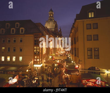 Germany,Saxony,Dresden,Old Town,Church of Our Lady,lane,Christmas fair,visitor,lights,evening,town,building,church,structures,architecture,dome,landmark,places - Stock Photo