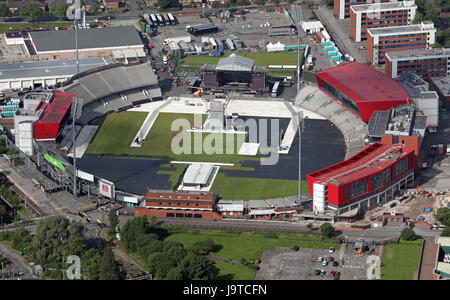 Manchester, UK. 3rd June, 2017. Aerial view of the One Love Manchester Concert venue in preparation for Sunday's - Stock Photo