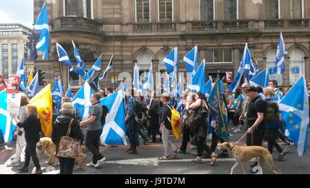 Glasgow, Scotland, UK. 3rd June, 2017. Demonstration for independence of Scotland, Glasgow Scotland, 3rd of June, - Stock Photo