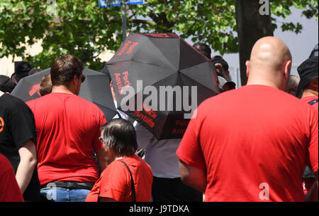 Karlsruhe, Germany. 3rd June, 2017. Participants gather for a rightist demonstration in Karlsruhe, Germany, 3 June - Stock Photo