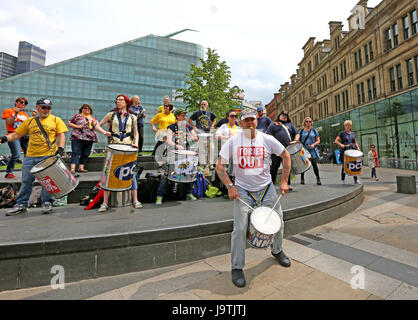 Manchester, UK. 3rd June, 2017. The PCS Samba Band perform in front of the Urbis, Manchester, 3rd June, 2017 (C)Barbara - Stock Photo