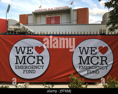 Manchester, UK. 3rd June, 2017. signs for tomorrows One love concert at the Emirates Old Trafford stadium. Credit: - Stock Photo