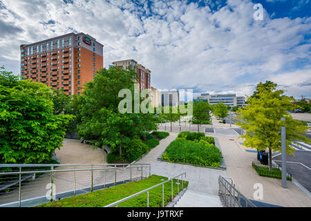 Gardens and trees at Canal Park in the Navy Yard neighborhood of Washington, DC. - Stock Photo