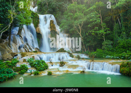 Kuang Si water fall, the most famous water fall in Lao. - Stock Photo