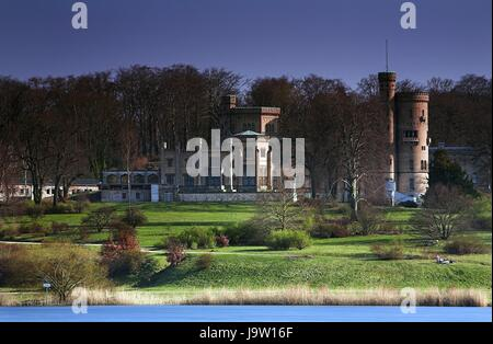 historical, potsdam, manor-house, water, chateau, castle, blue, story, waters, - Stock Photo