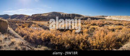 Rural panoramic scene of the Gunnison River Valley in Delta County, Western Colorado, USA on a sunny afternoon in - Stock Photo