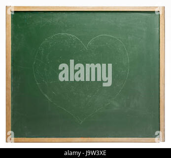 blackboard with painted heart shape - Stock Photo