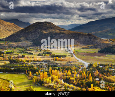 Autumn landscape, near Queenstown, New Zealand - Stock Photo