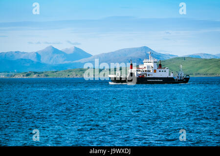 The Caledonian MacBrayne ( Cal Mac) ferry en route from Oban to Craignure on the island of Mull, Scotland - Stock Photo