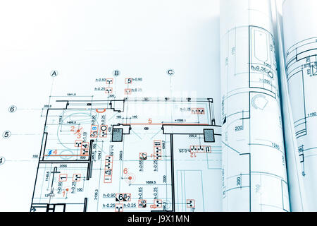 architectural engineering blueprints. Engineering Blueprints And Rolls Of Architectural Plan Drawings - Stock Photo