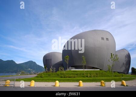 modern theater building Teatro Il Maggiore (Maggiore theatre) in Verbania on Lake Maggiore, Piedmont region, Italy - Stock Photo