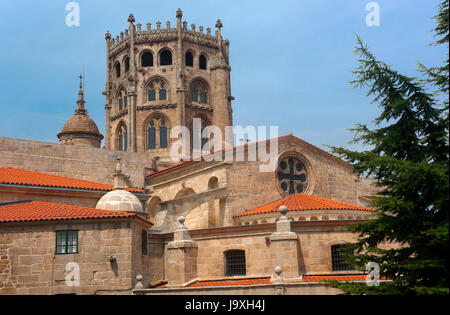 Gothic Cathedral of San Martin de Tours - 12th century, Orense, Region of Galicia, Spain, Europe - Stock Photo