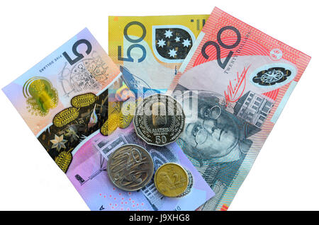 Australian currency isolated on white, bank notes and coins, Australian Dollars, AUD - Stock Photo