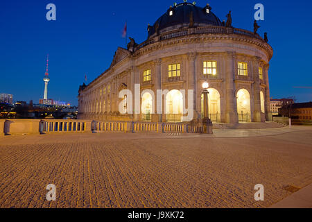 night, nighttime, berlin, twilight, television tower, historical, art, culture, - Stock Photo