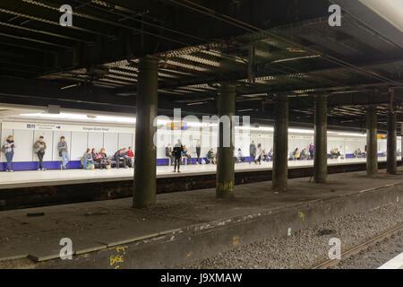 scotrail train station  station platform Glasgow Queen Street low level - Stock Photo