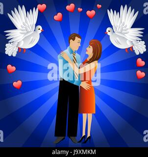 young loving couple and two white fondling,a vector illustration - Stock Photo
