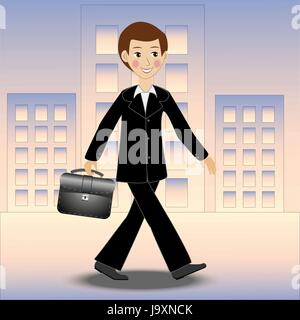 merry business man walks along the street on work, vector illustration - Stock Photo