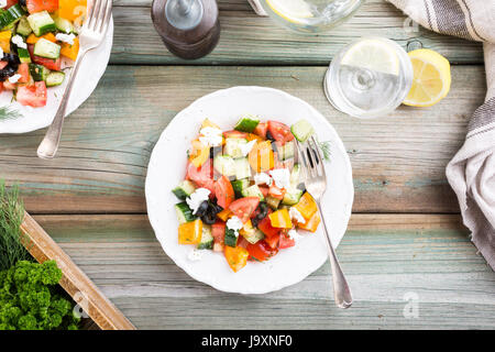 Salad with soft goat cheese - Stock Photo