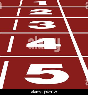 Perspective vector of start or finish position on running track - Stock Photo