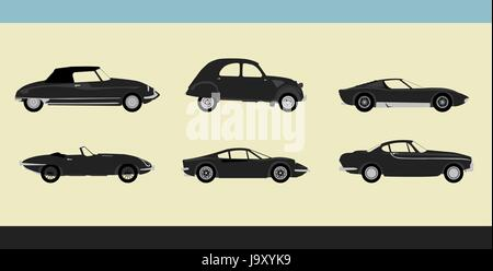 Vector of old-fashioned retro cars - Stock Photo