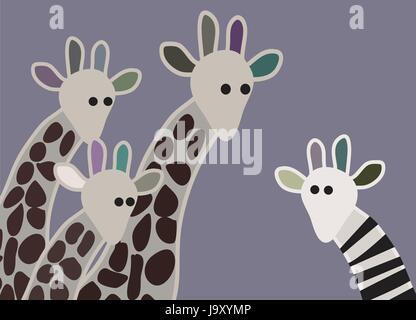 Giraffe family looking surprised, with giraffe in different marking - Stock Photo