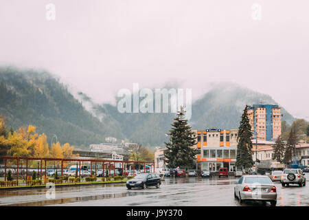Borjomi, Samtskhe-Javakheti, Georgia - October 25, 2016: Traffic In Shota Rustaveli Street In Autumn Day - Stock Photo