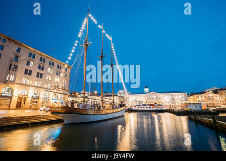 Helsinki, Finland - December 9, 2016: Old Wooden Sailing Vessel Ship Schooner Is Moored To The City Pier, Jetty. - Stock Photo
