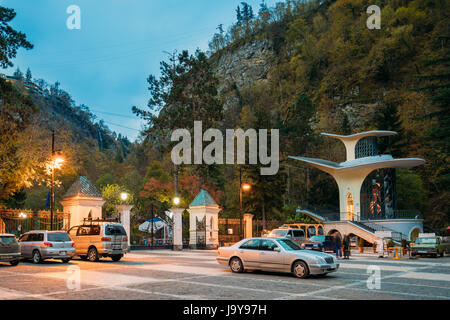 Borjomi, Samtskhe-Javakheti, Georgia - October 24, 2016: Suspended Cableway Road And Entrance To The Park. Famous - Stock Photo
