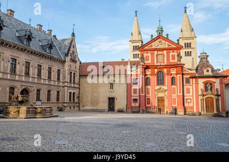 St. George's Basilica in Prague Castle, Prague, Czech Republic - Stock Photo