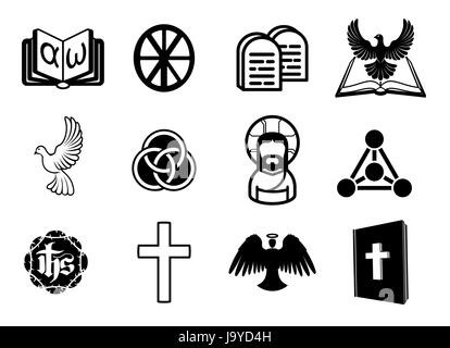A Christian Religious Icon Set With Signs And Symbols Related To