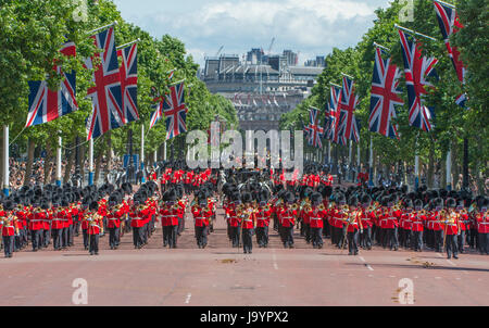 3rd June 2017. The Major General's Review takes place with the Massed Guards Bands and 1st Battalion Irish Guards - Stock Photo