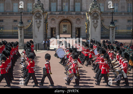 3rd June 2017. Massed Guards Bands march past open gates of Buckingham Palace at end of the Major General's Review - Stock Photo