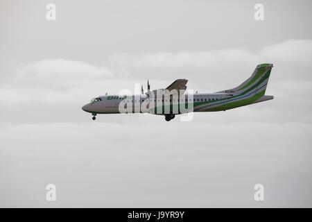 ARECIFE, SPAIN - APRIL, 15 2017: ATR 72 of Binter landing at Lanzarote Airport - Stock Photo