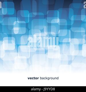 Vector 3D Warped Squares On Blue Background - Stock Photo
