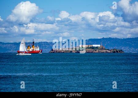 Alcatraz Island and prison in San Francisco - SAN FRANCISCO - CALIFORNIA - APRIL 18, 2017 - Stock Photo