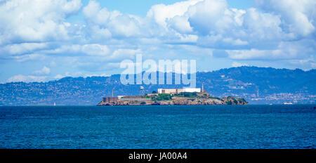 The Alcatraz Prison on Alcatraz Island in San Francisco - SAN FRANCISCO - CALIFORNIA - APRIL 18, 2017 - Stock Photo
