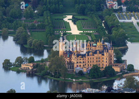 schwerin castle from above - Stock Photo