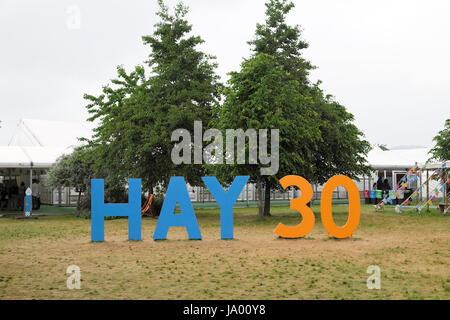The Hay 30 anniversary sign celebrating 30 years of the Hay Literary Book Festival  2017 in Hay-on-Wye  Wales UK - Stock Photo
