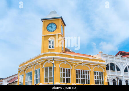 Old town or old buildings with clock tower in Sino Portuguese style is famous of Phuket Thailand - Stock Photo
