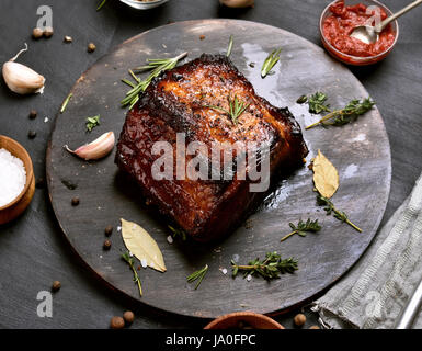 Bbq pork, grilled meat on wooden board - Stock Photo