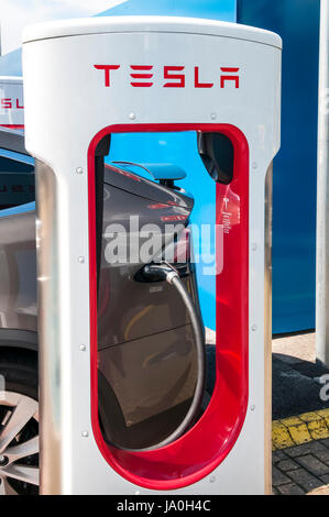 Electric car re-charging at a recharging point for Tesla electric cars showing the Tesla name and logo - Stock Photo