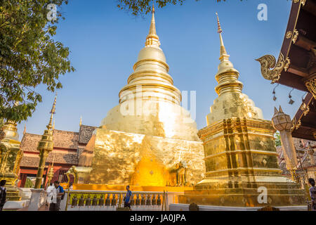 CHIANG MAI , THAILAND - MARCH 5, 2017 : Wat Phra Singh Woramahaviharn temple is located in the old city centre of Chiang Mai, Thailand on March 5 2017