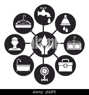 black silhouette icons plumbing connected to center circular frame with hands holding a drop water - Stock Photo
