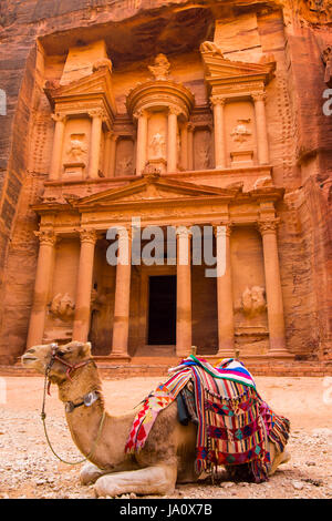 Ancient abandoned rock city of Petra in Jordan tourist attraction - Stock Photo