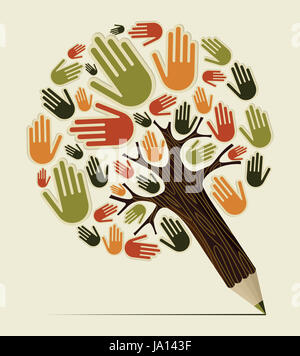 Diversity people hand concept pencil tree. Vector illustration layered for easy manipulation and custom coloring. - Stock Photo