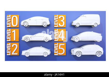 Autonomous car classification concept. 3D rendering image. - Stock Photo