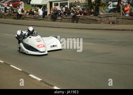 Isle of Man TT Races, Sidecar Qualifying Practice Race, Saturday 3 June 2017. Sidecar qualifying session. Number - Stock Photo