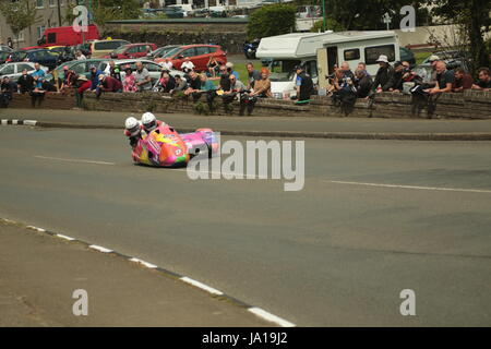 Isle of Man TT Races, Sidecar Qualifying Practice Race, Saturday 3 June 2017. Sidecar qualifying session. Number - Stock Photo