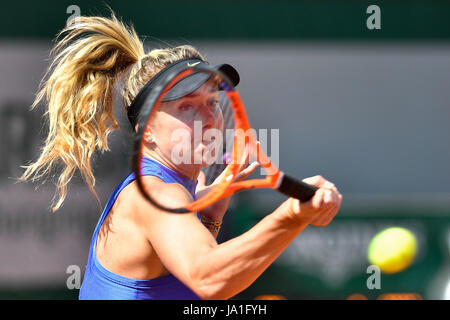 Paris. 4th June, 2017. Elina Svitolina of Ukraine competes during the women's singles 3rd round match against Magda - Stock Photo